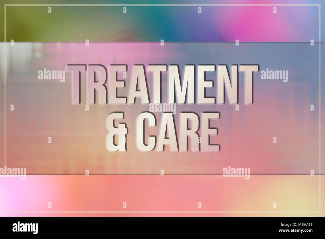 Behandlung & Pflege, Medizin & Medikamente konzeptionelle Worte, mit Wirbeln & bunt als Hintergrund für Webseite, Grafik Design, Katalog oder Tapeten. Stockfoto