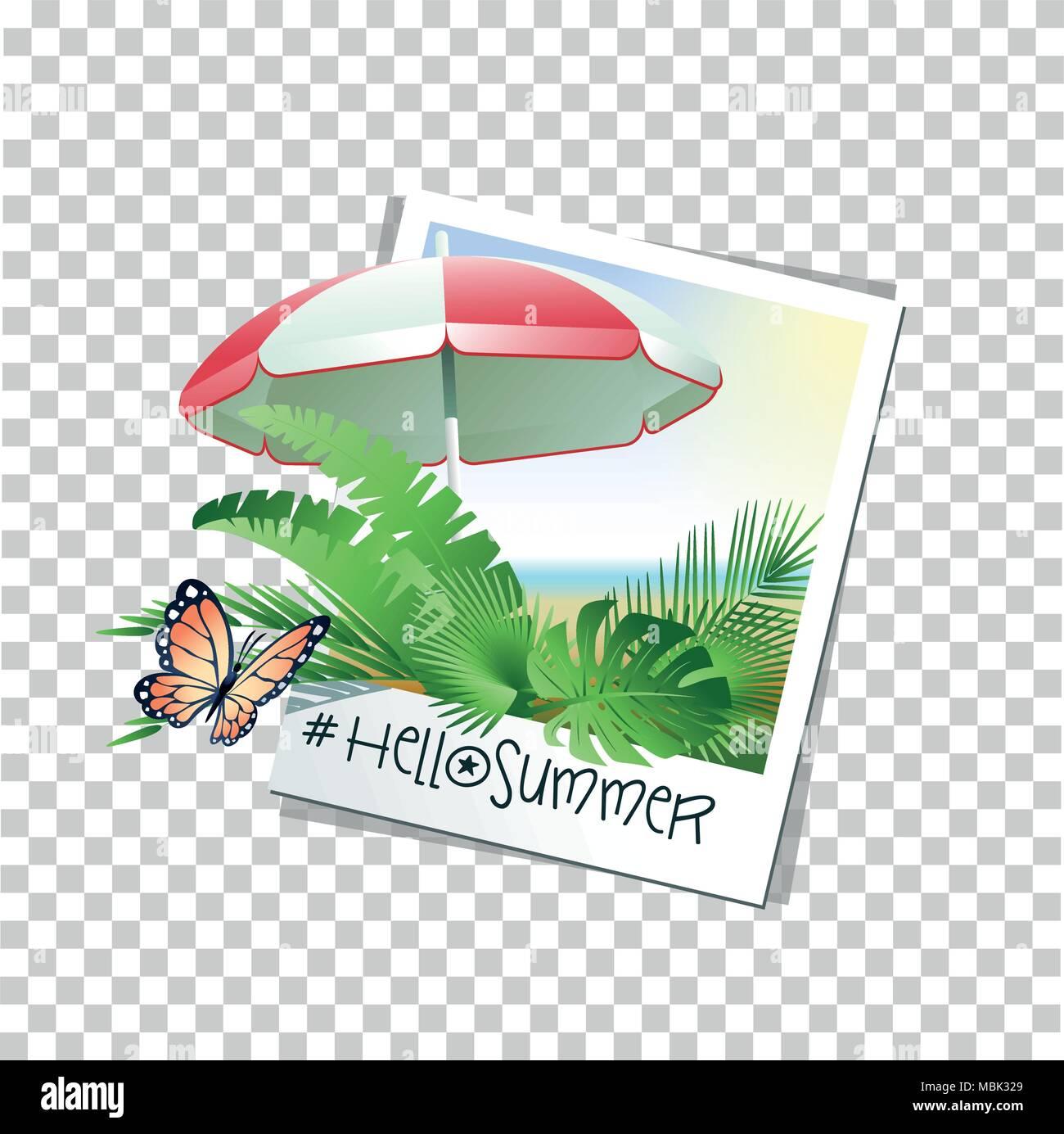 Hallo Sommer Konzept mit Bilderrahmen, tropische Blätter ...