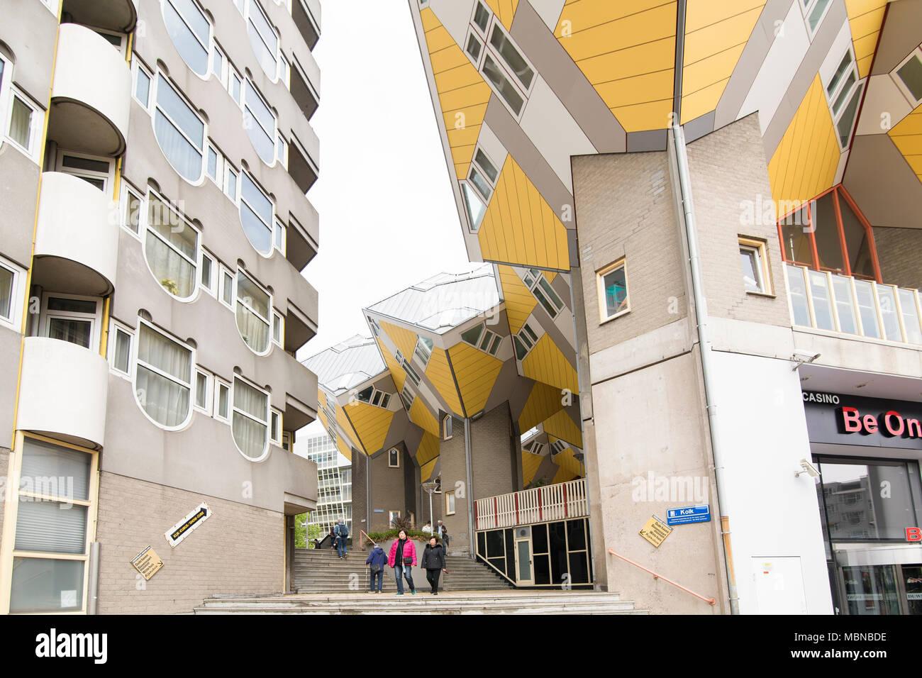 Cube Häuser in Rotterdam, experimentelle Architektur in den Niederlanden Stockbild