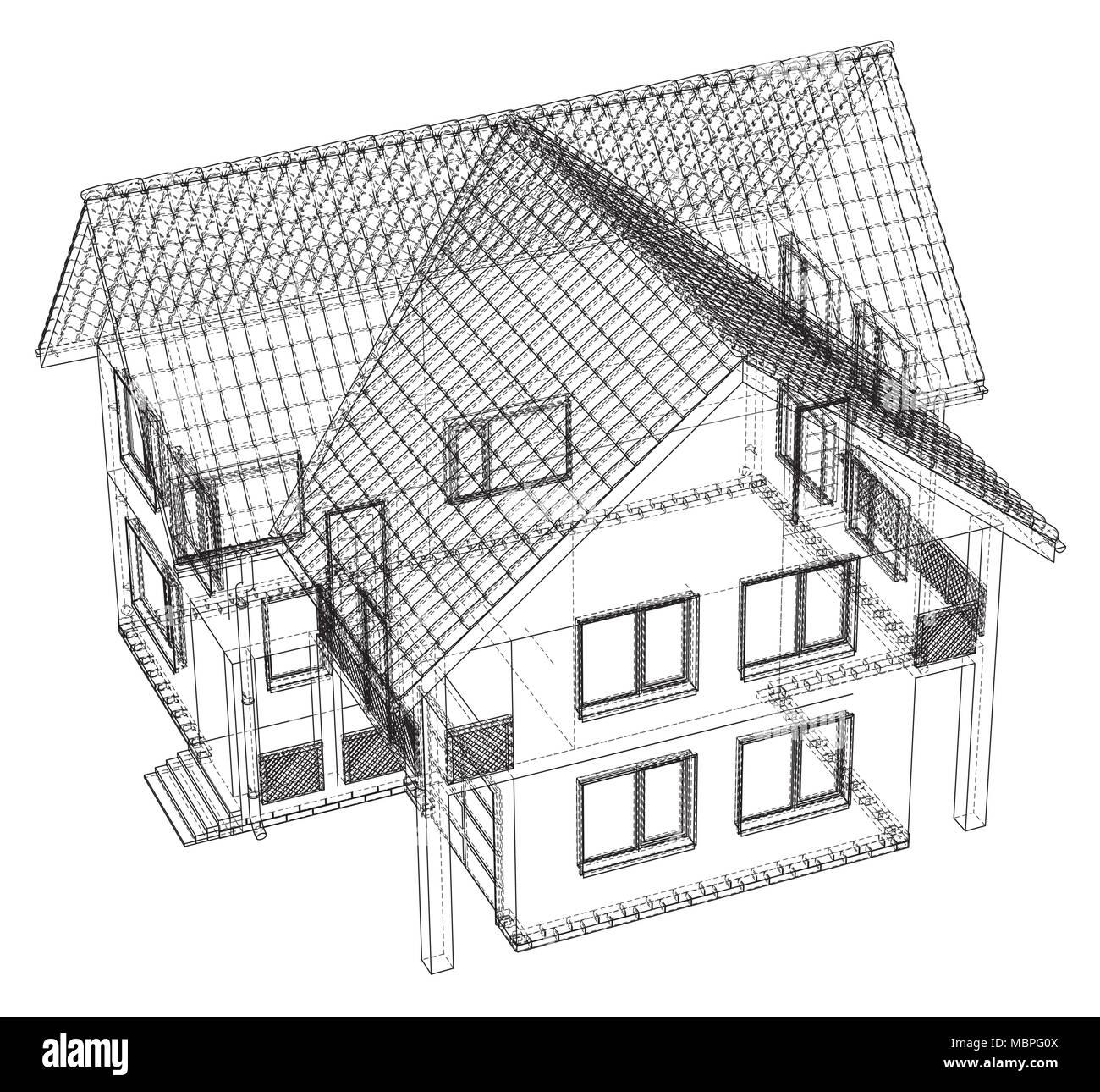 Drahtmodell Bauplan Zeichnen Von 3D-Haus-Vector