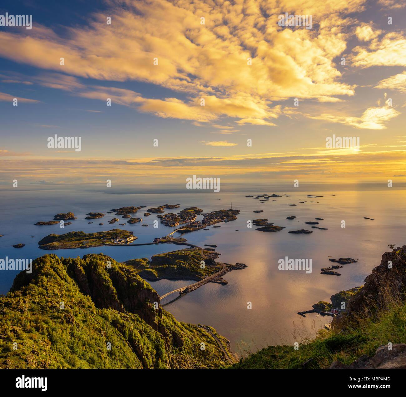 Blick vom Mount Festvagtinden in Norwegen Stockbild