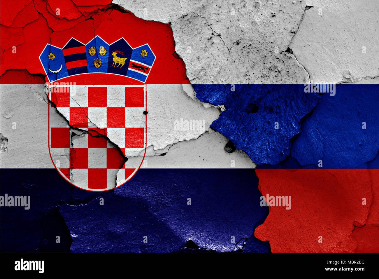 flagge von kroatien und russland malte auf risse an der. Black Bedroom Furniture Sets. Home Design Ideas