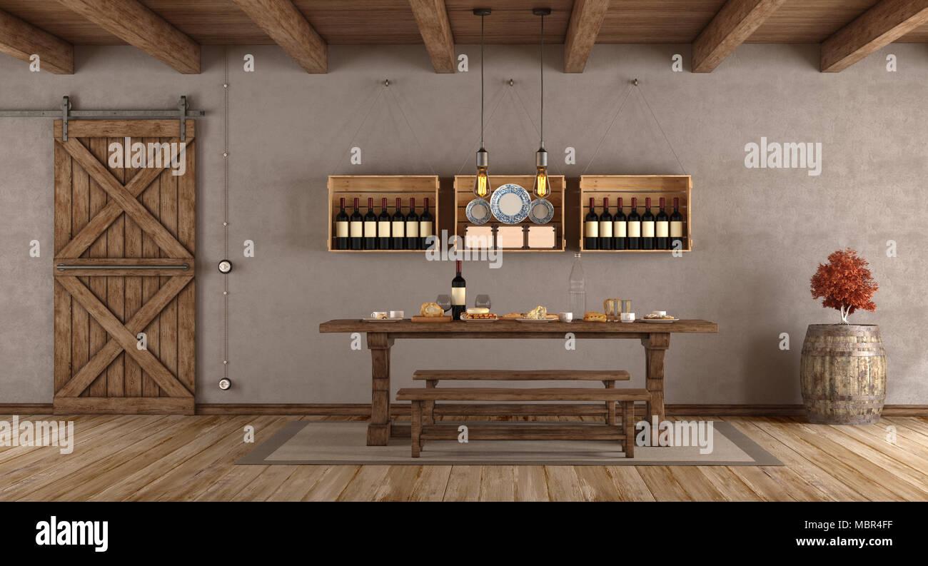 speisesaal im landhausstil mit alten tisch, sitzbank und schiebetür