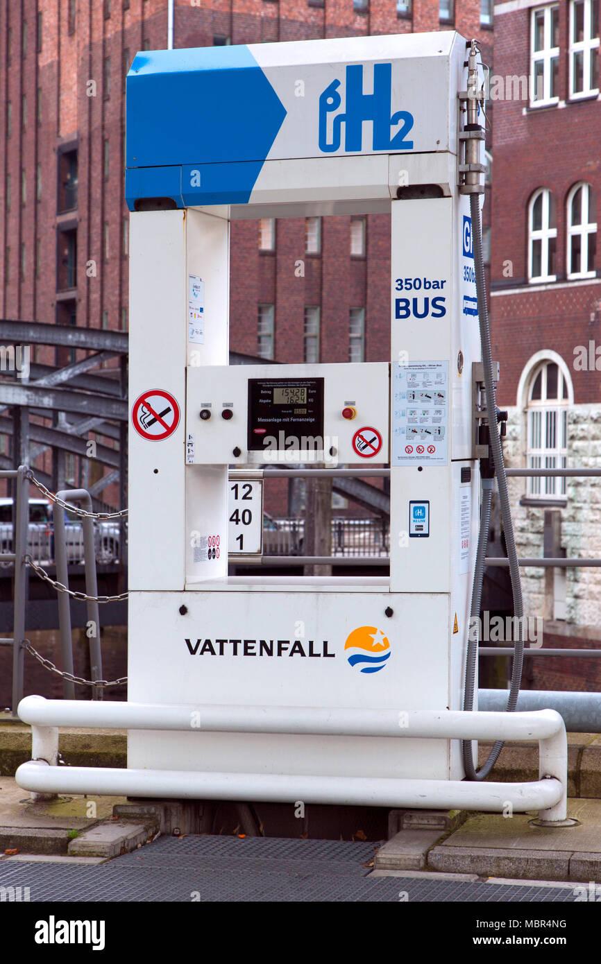 Hamburger Wasserstoff-tankstelle/Vattenfall Hafencity Wasserstoff-tankstelle, Deutschland Stockbild