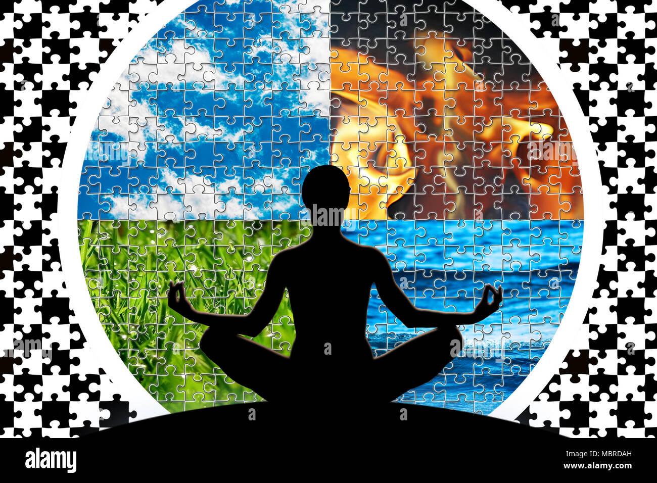 Weibliche Yoga Abbildung In Einem Kreis Aus Vier Puzzleschnitt