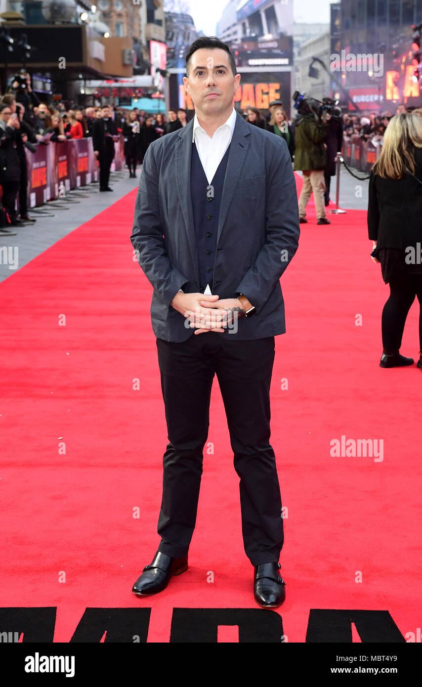Regisseur Brad Peyton an der Europäischen Uraufführung von Rampage, im Cineworld in Leicester Square, London Stockbild