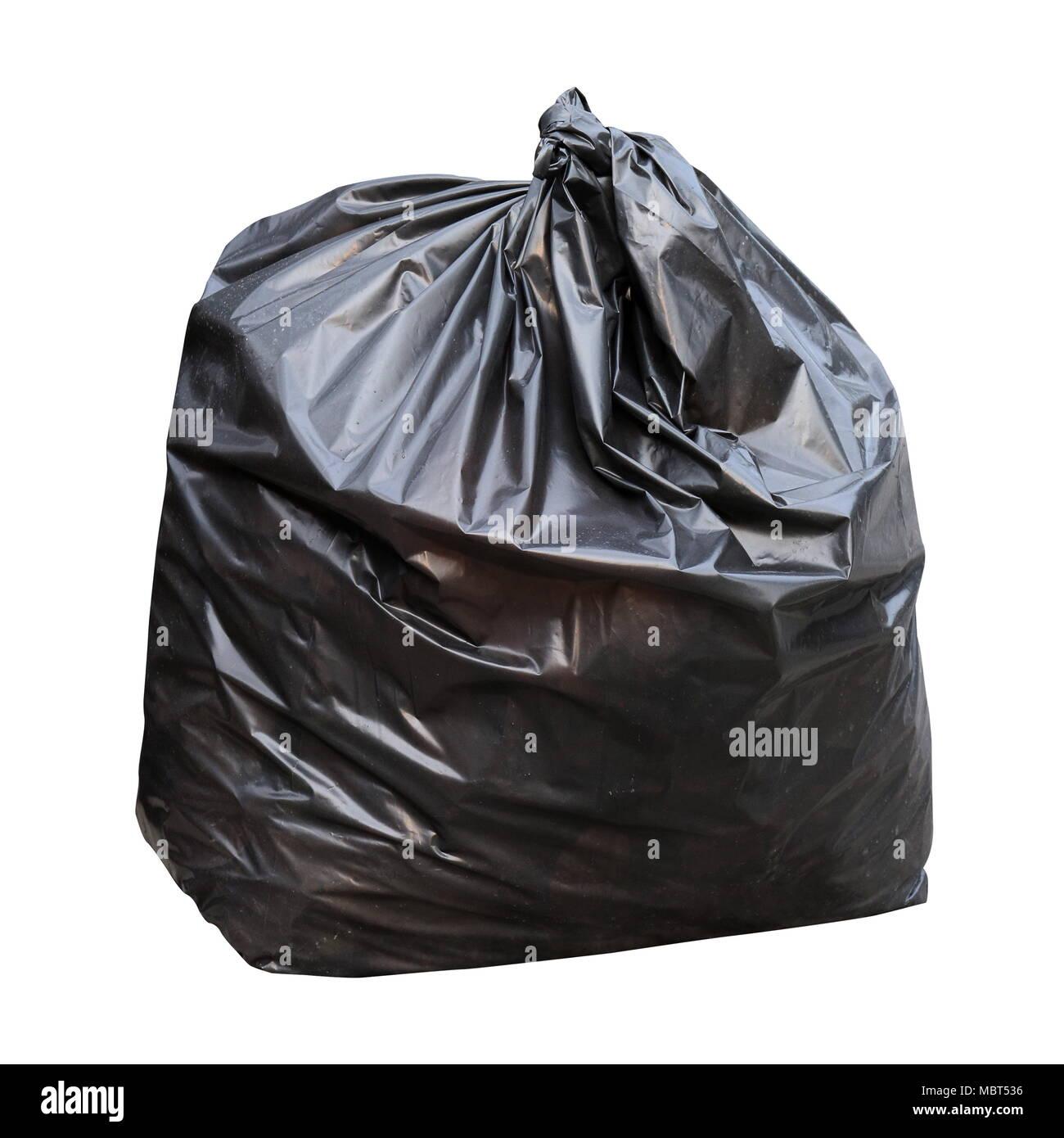 9cb60ae7afe64 Abfall Abfall Tasche (schwarz auf weißem Hintergrund Stockfoto