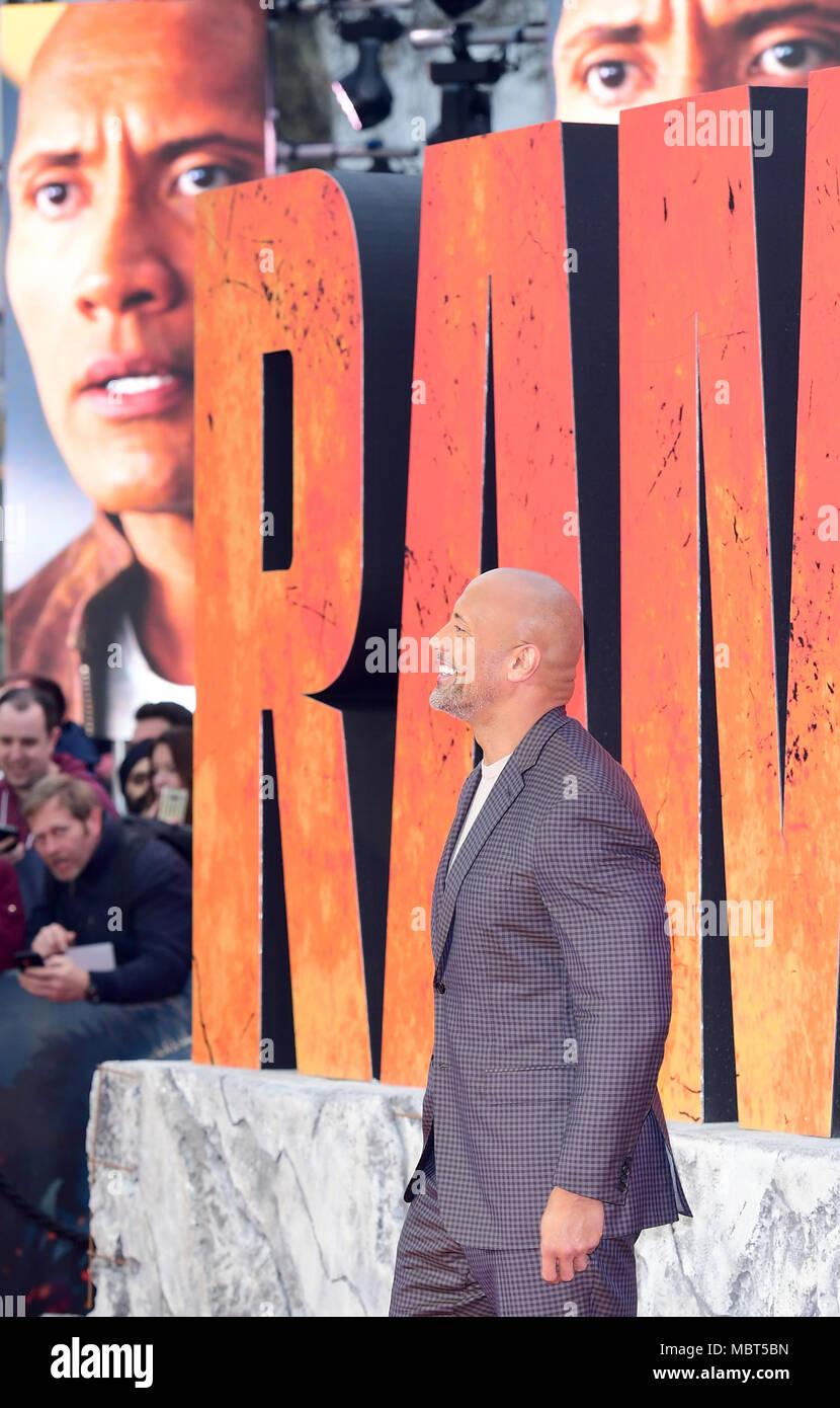 Dwayne Johnson die Teilnahme an der Europäischen Uraufführung von Rampage, im Cineworld in Leicester Square, London statt. Bild Datum: Mittwoch, 11. April 2018. Siehe PA Geschichte showbiz Rampage. Foto: Ian West/PA-Kabel Stockbild