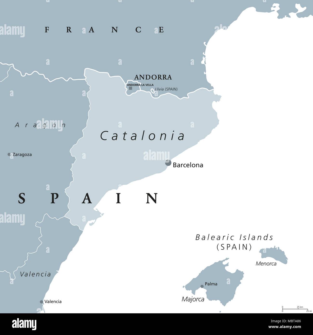 Spanien Katalonien Karte.Katalonien Politische Karte Mit Hauptstadt Barcelona Und Grenzen