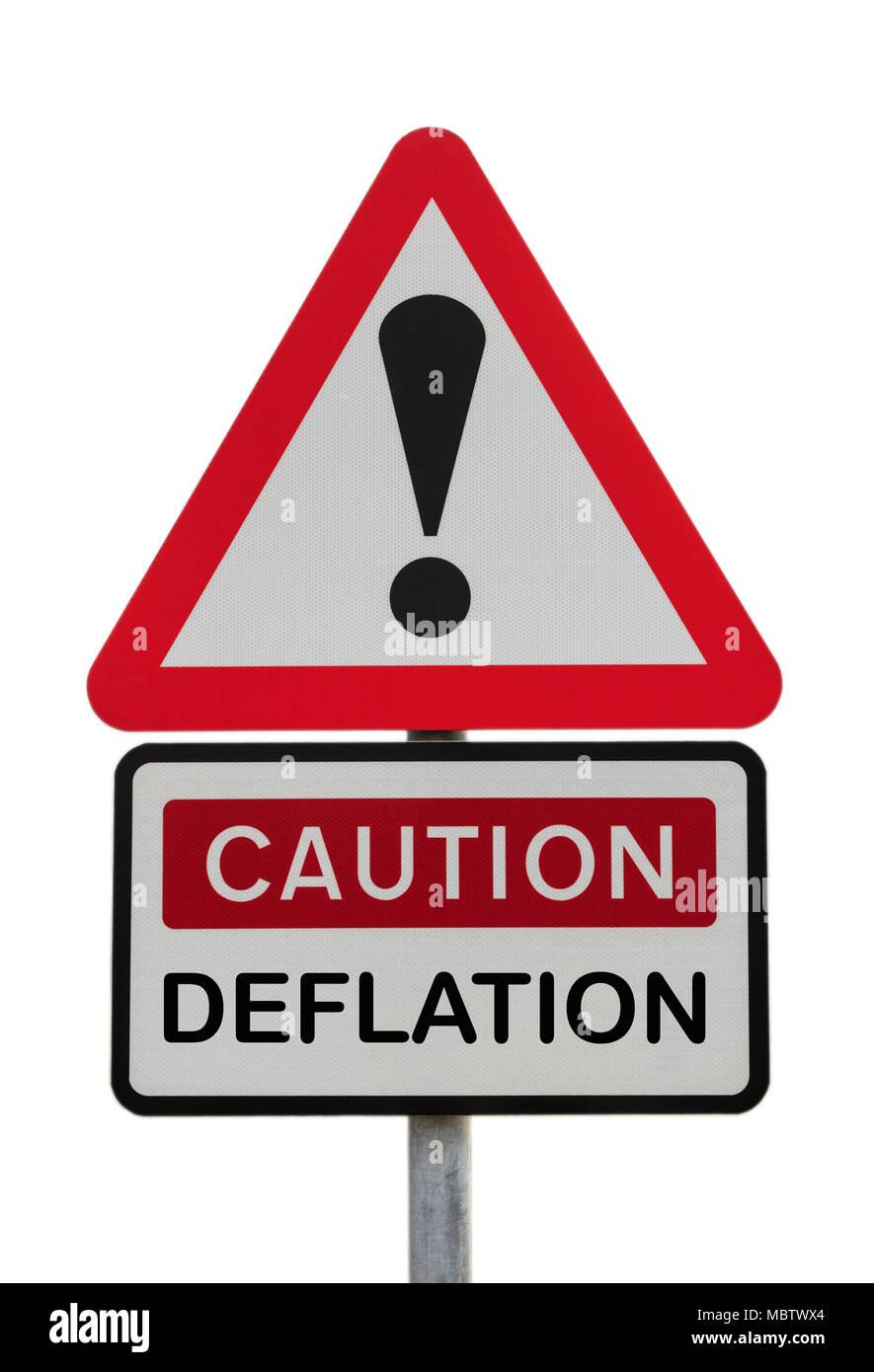 Dreieckige schild Warnung Vorsicht Deflation mit Ausrufezeichen finanzielle Zukunft Konzept zu veranschaulichen. Großbritannien, Großbritannien, Europa Stockbild
