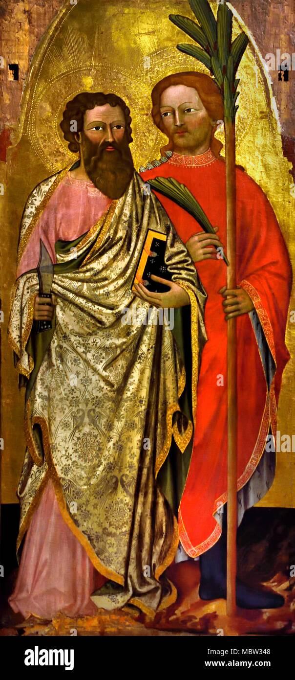 Elemento di polittico con San Bartolomeo e San Cristoforo-Element ein Altarbild mit St. Bartholomäus und St. Christopher durch Turino Vanni 14. und 15. Jahrhundert Italien Italienisch Stockbild