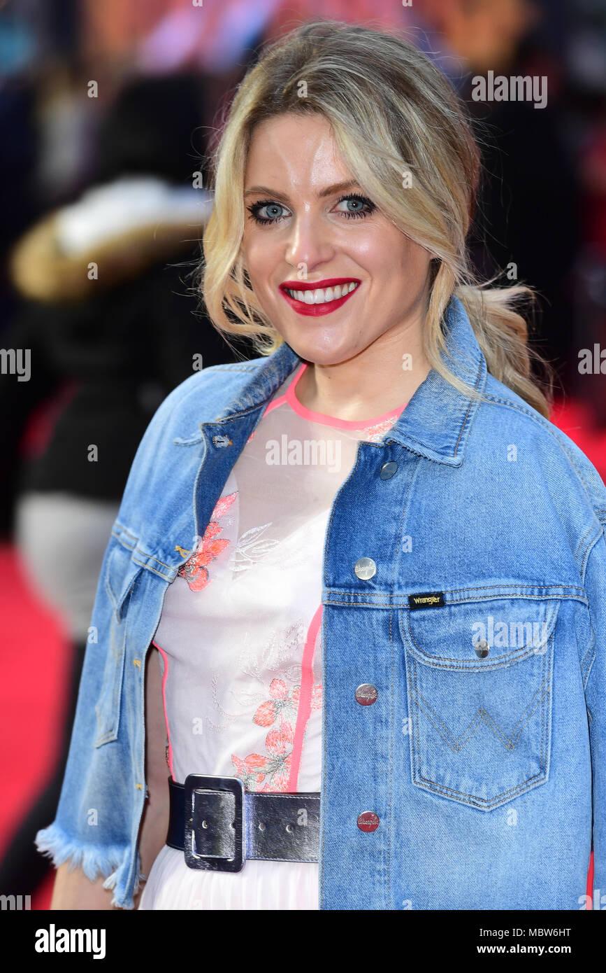 Olivia Cox die Teilnahme an der Europäischen Uraufführung von Rampage, im Cineworld in Leicester Square, London Stockbild