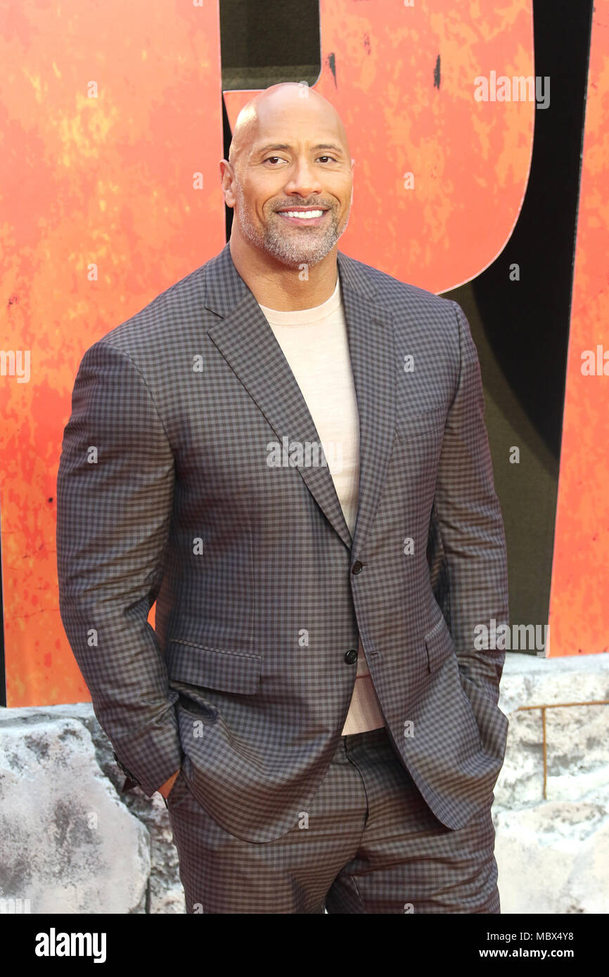 London, Großbritannien. 11. April 2018. Dwayne Johnson, Rampage - Europäische Premiere, Leicester Square, London, UK, 11. April 2018, Foto von Richard Goldschmidt Credit: Rich Gold/Alamy leben Nachrichten Stockbild