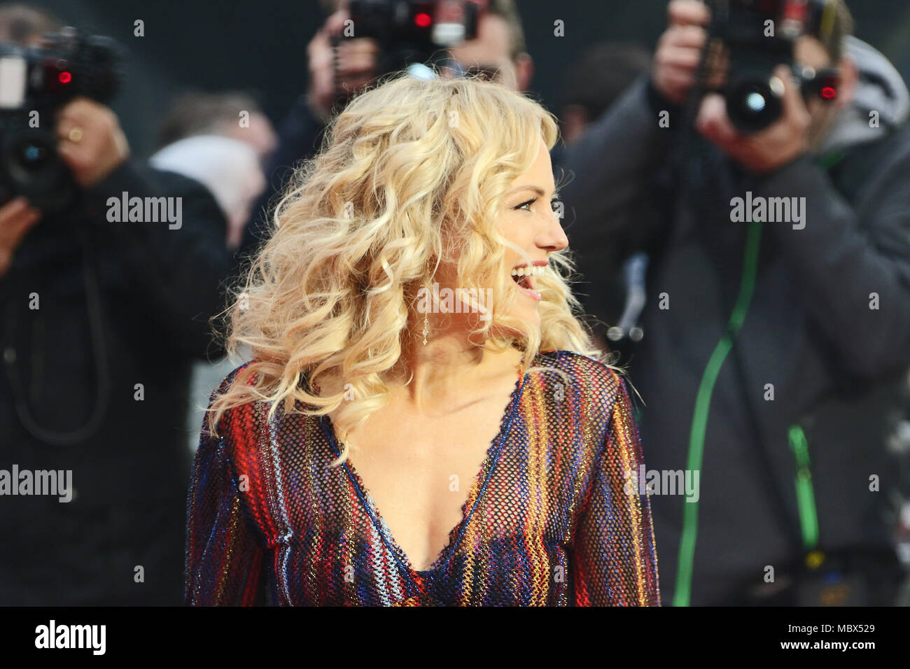 London, Großbritannien. 11. April 2018. Malin Akerman, Rampage - Europäische Premiere, Leicester Square, London, UK, 11. April 2018, Foto von Richard Goldschmidt Credit: Rich Gold/Alamy leben Nachrichten Stockbild