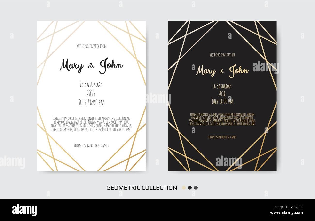 Hochzeit Einladung, Card Design Mit Geometrischen Kunst Linien, Blattgold  Rand, Rahmen Einladen. Vektor Moderne Geometrische Abstrakte Vorlage,  Layout.