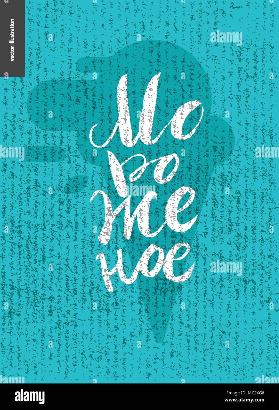 Eis russische Schrift und Eis - ein Vektor Flachbild cartoon schwarz Bürste handschriftliche Schriftzug Ice Cream und Waffel Kegel mit Minze ice cre Stock Vektor