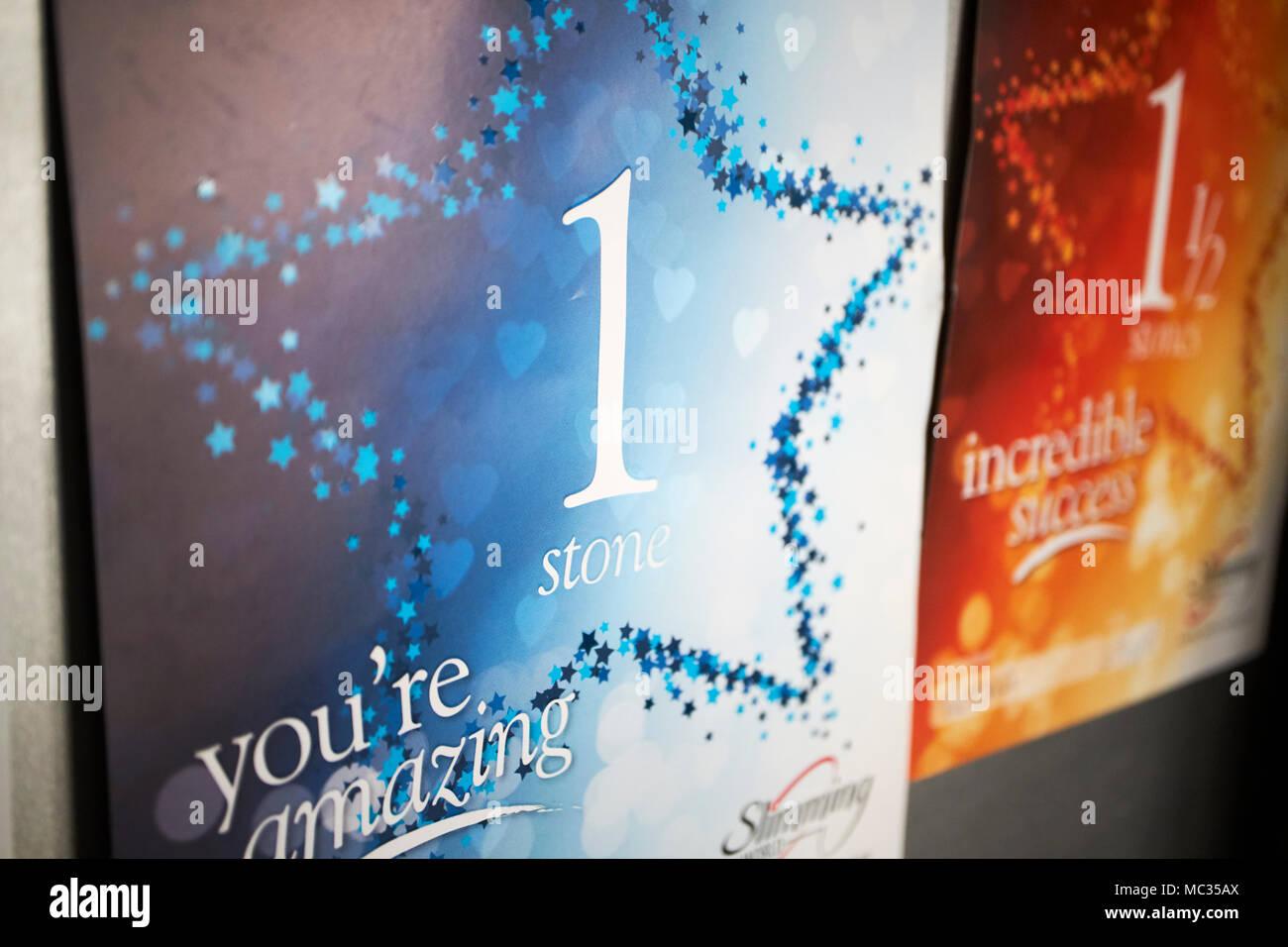 Slimming World Awards für Gewichtverlust in einem Heim angezeigt Stockbild