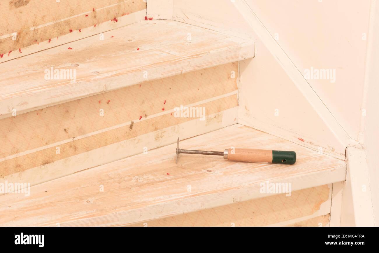 Entfernen Von Teppich Klebstoff Und Lack Von Einer Vintage Treppen