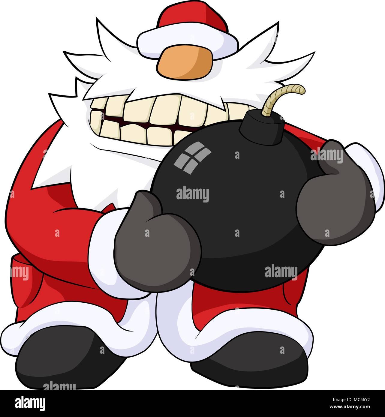 Weihnachtsfeier Cartoon.Weihnachtsfeier Humorvoll Cartoon Santa Mit Grosse Bombe Vektor