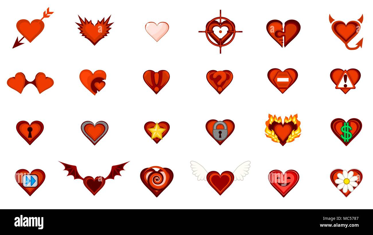 Valentinstag Cartoon Kleine Herz Symbol Gesetzt Vector Illustration