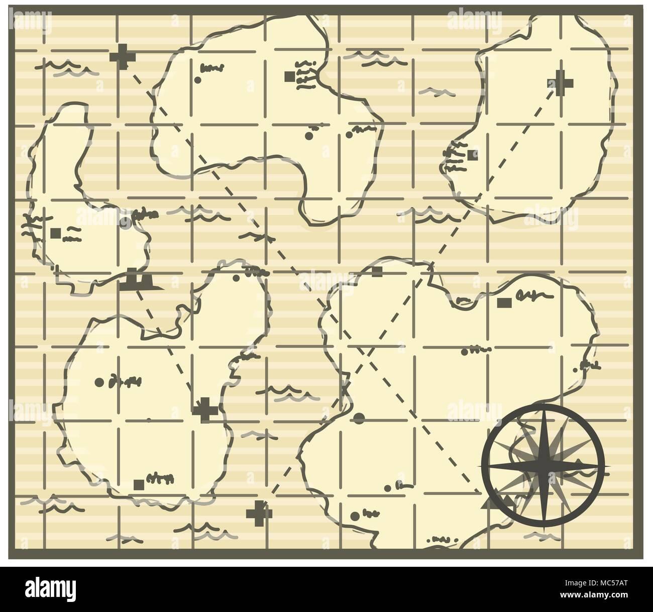 Fantasy Karte.Karte Zeichentrick Fantasy Generisches Symbol Vector Illustration