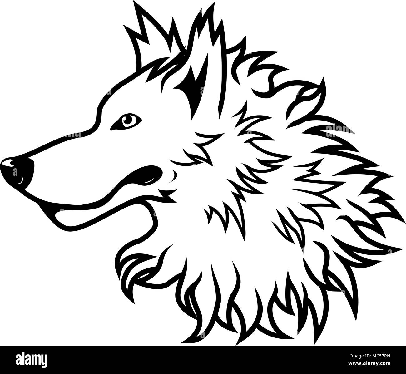 Schwarze Und Weiße Vektor Wolf Kopf Zeichnung Vektor Abbildung