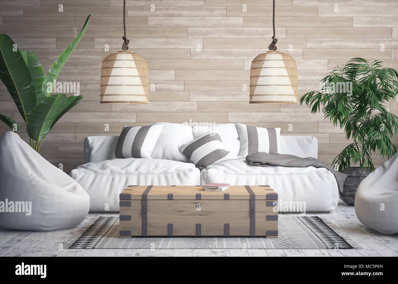 Tropische Interieur Hintergrund, 3D-Rendering Stockfoto, Bild ...