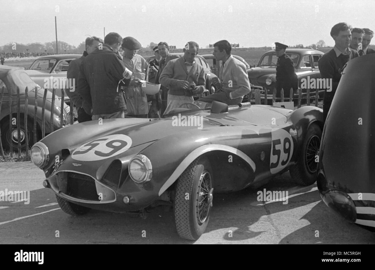 Aston Martin DB 3 S Stirling Moss, Goodwood International Sports Car Race 2.4.1956 Stockbild