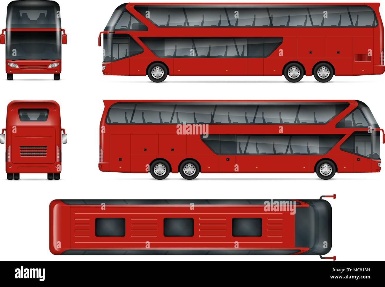 Bus vektor Mock-up isoliert Vorlage von Red Travel Coach auf Weiß ...