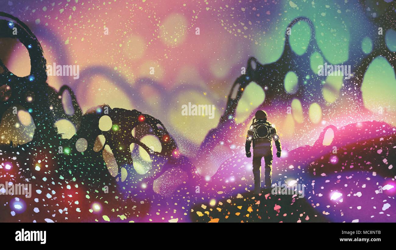 Astronauten laufen auf dem Boden mit glühenden Partikeln in fremden Planeten, digital art Stil, Illustration Malerei Stockbild