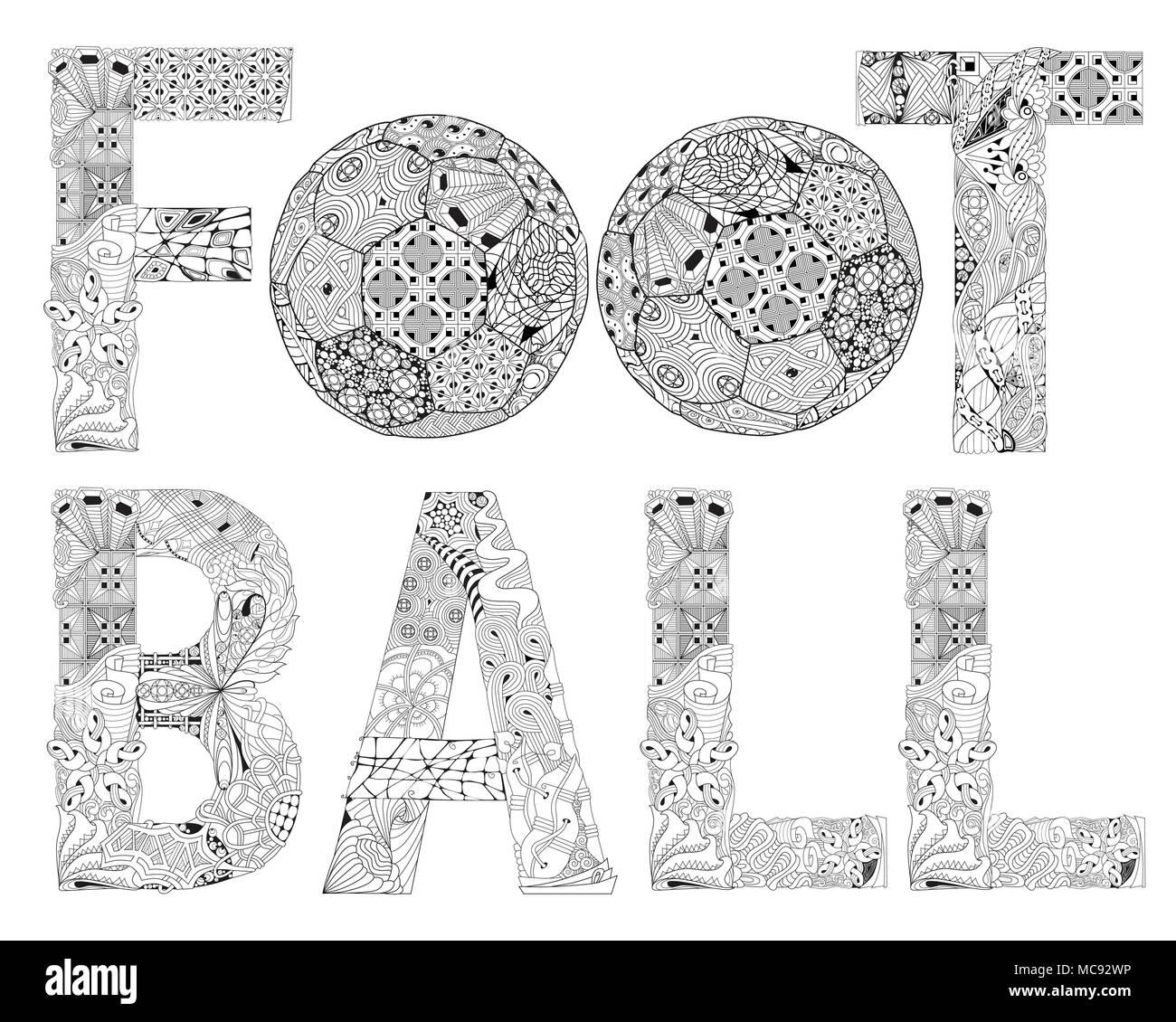 Wort Fußball für die Färbung. Vektor dekorative zentangle Objekt ...
