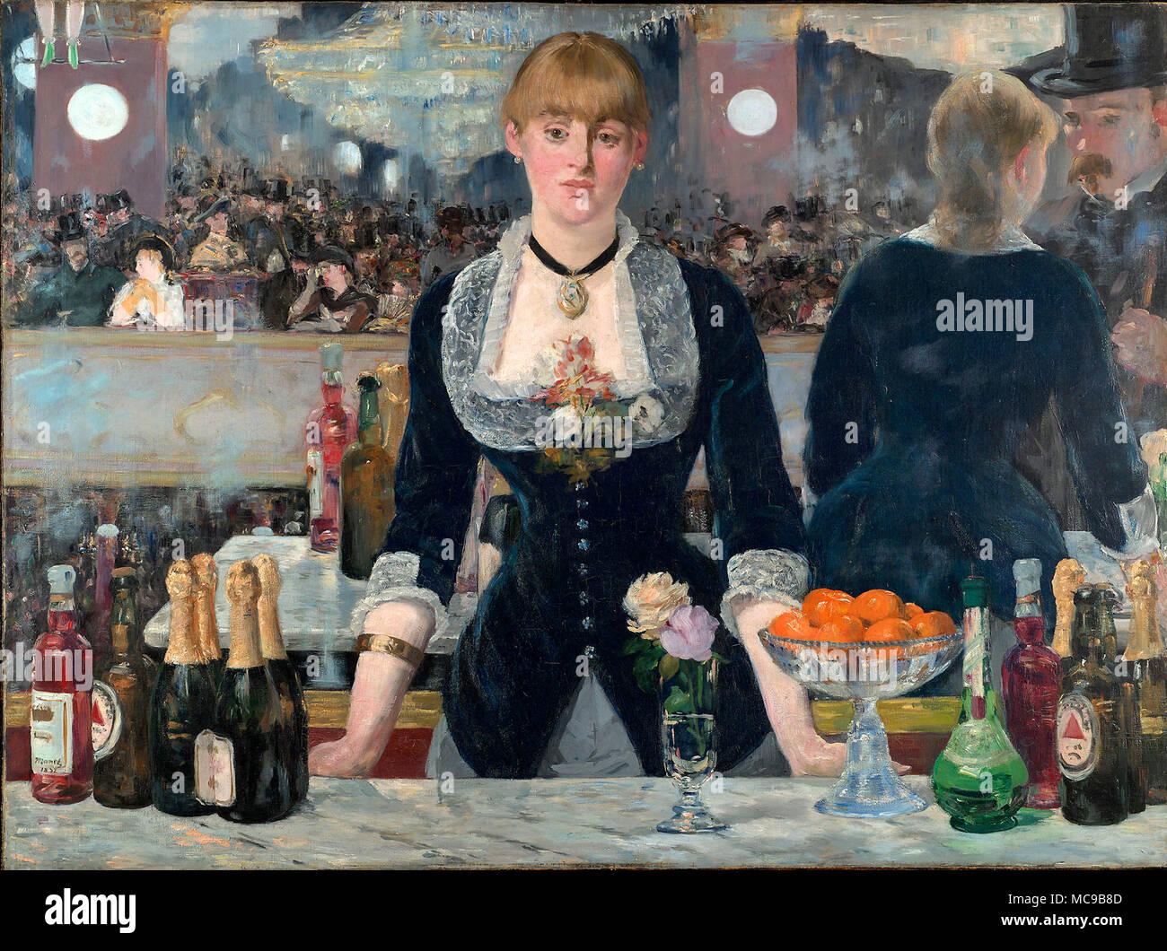 Eine Bar an der Folies-Bergère (Un Bar aux Folies-Bergère), 1882, von Édouard Manet. Stockbild