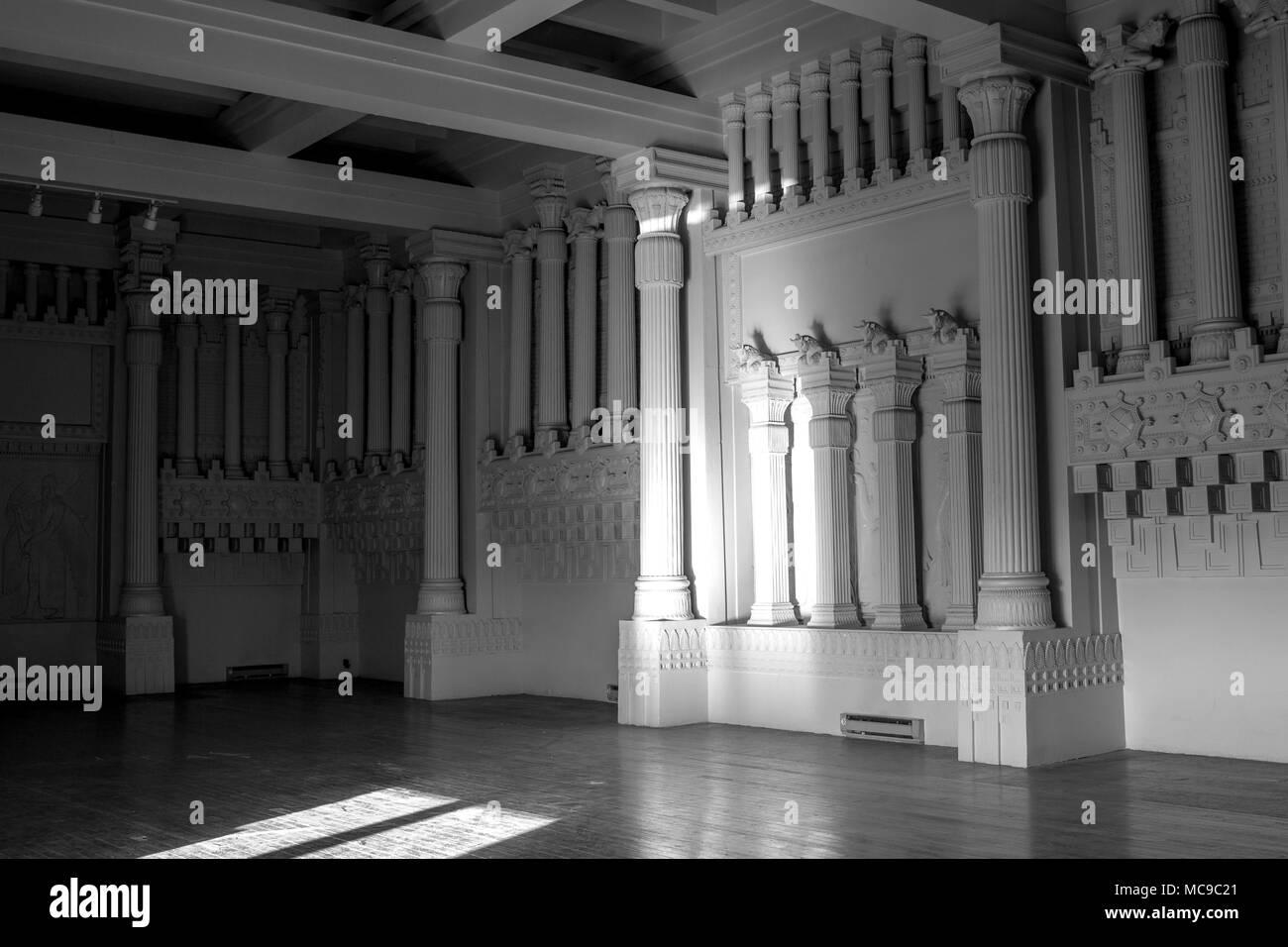 Interieur der Zimmer der abgebrochenen Masonic Temple im Hotel ...