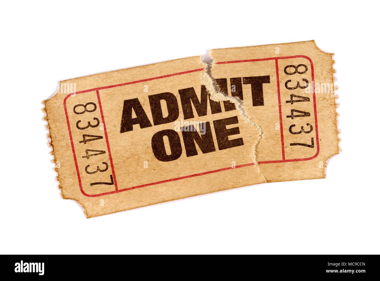 Alte abgerissen und Flecken zu einem Film ticket Stockfoto, Bild ...