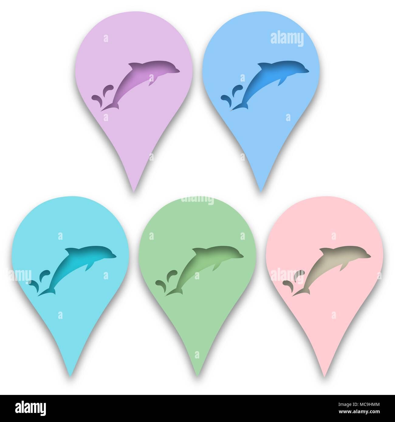 Dolphin In Der Technik Der Papier Ausschneiden Fisch Meer Kreatur