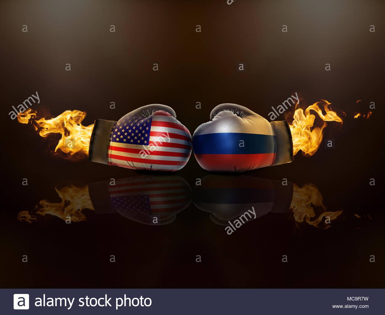 Krise zwischen den USA und Russland wird eine direkte Konfrontation werden Konzept Stockbild
