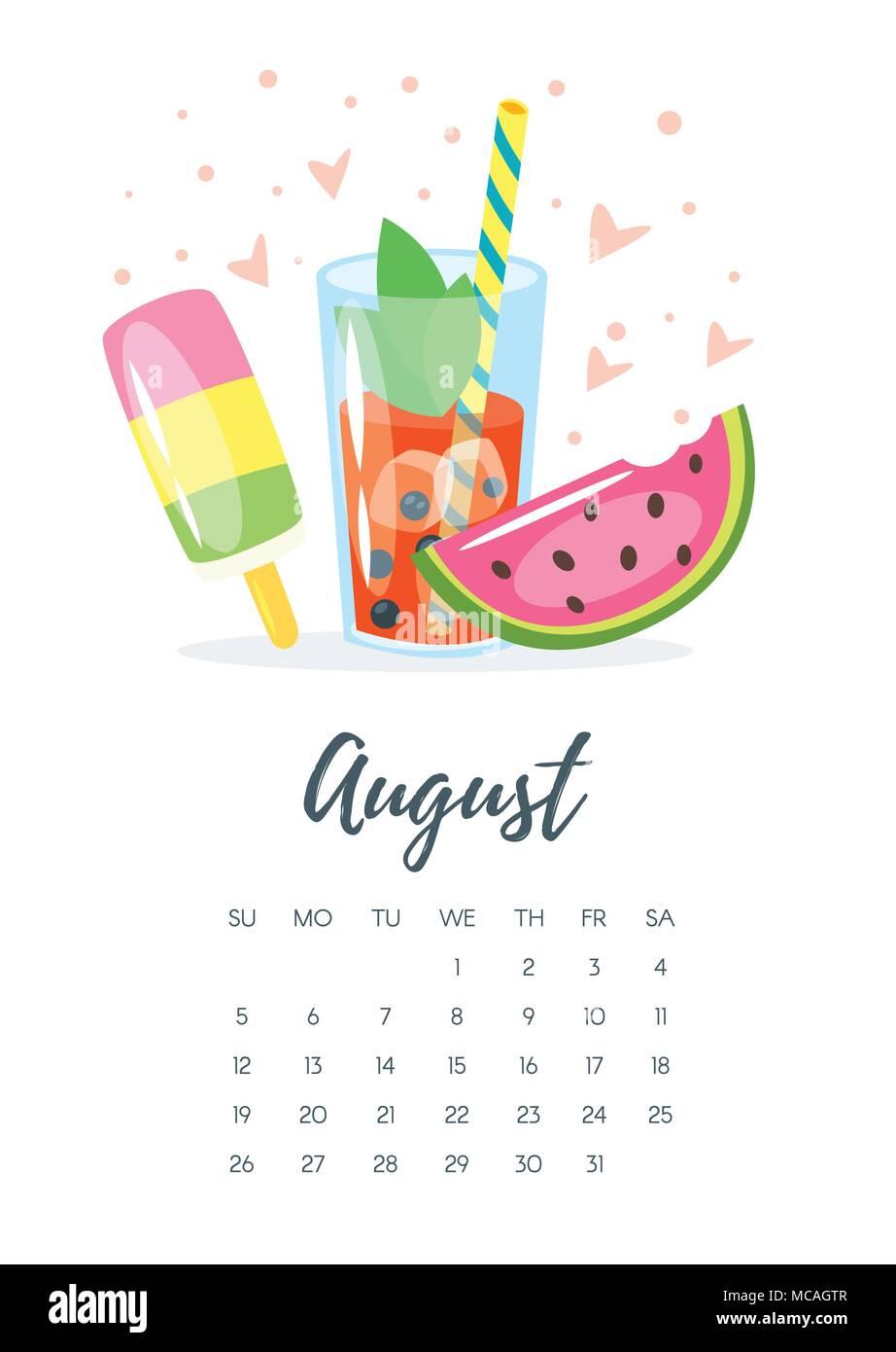Vektor Cartoon Stil Abbildung: August 2018 Kalender Seite mit Eis ...