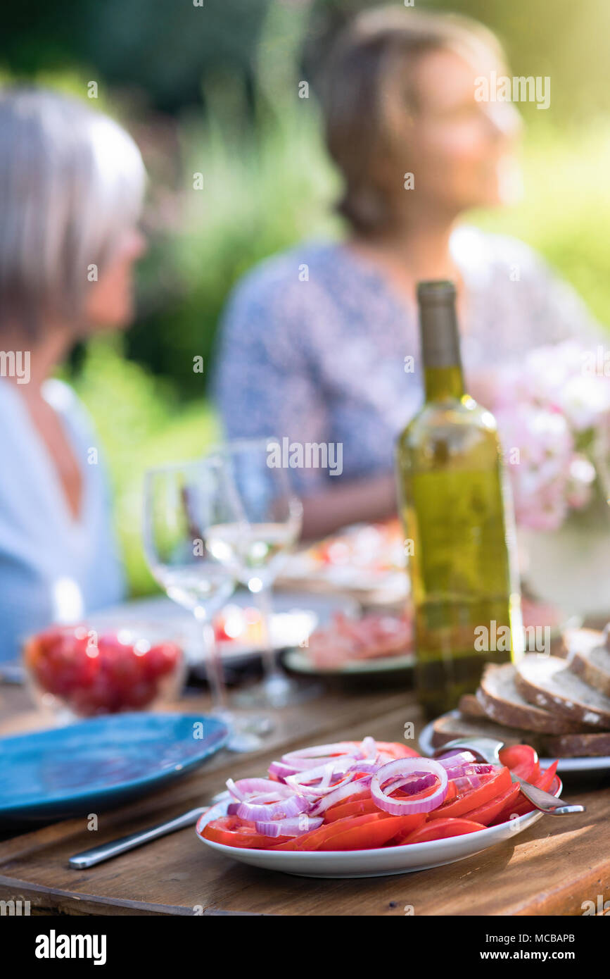 Close-up auf einem Teller mit Tomaten und Zwiebel auf einem Tisch in einem Garten, wo Freunde versammeln, um eine Mahlzeit zu teilen. Stockbild