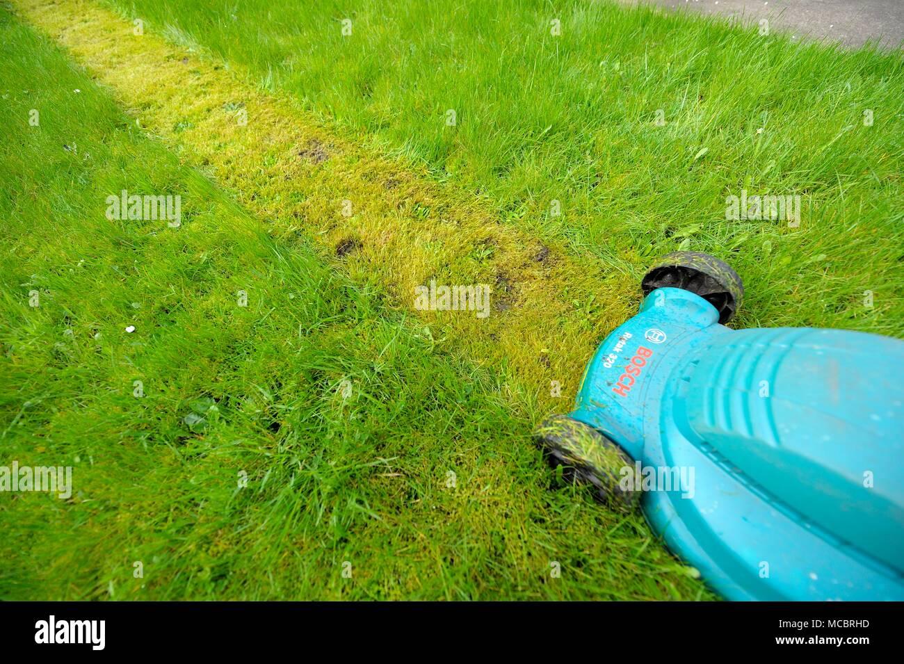 Erster Rasenschnitt Des Jahres Stockfotos Erster Rasenschnitt Des