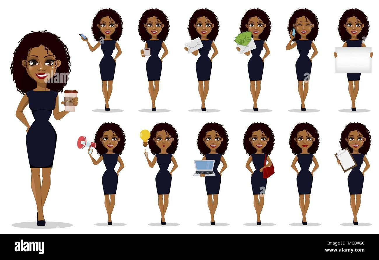 African American Business Woman Cartoon Character Set Junge Schöne