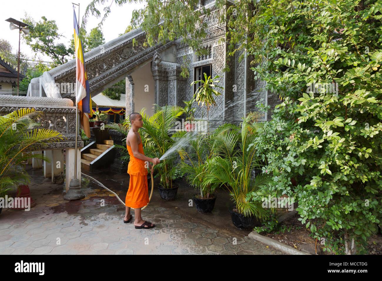 Kambodscha Lebensstil - ein buddhistischer Mönch Bewässerung von Pflanzen an einem Tempel Garten, Siem Reap, Kambodscha Asien Stockbild