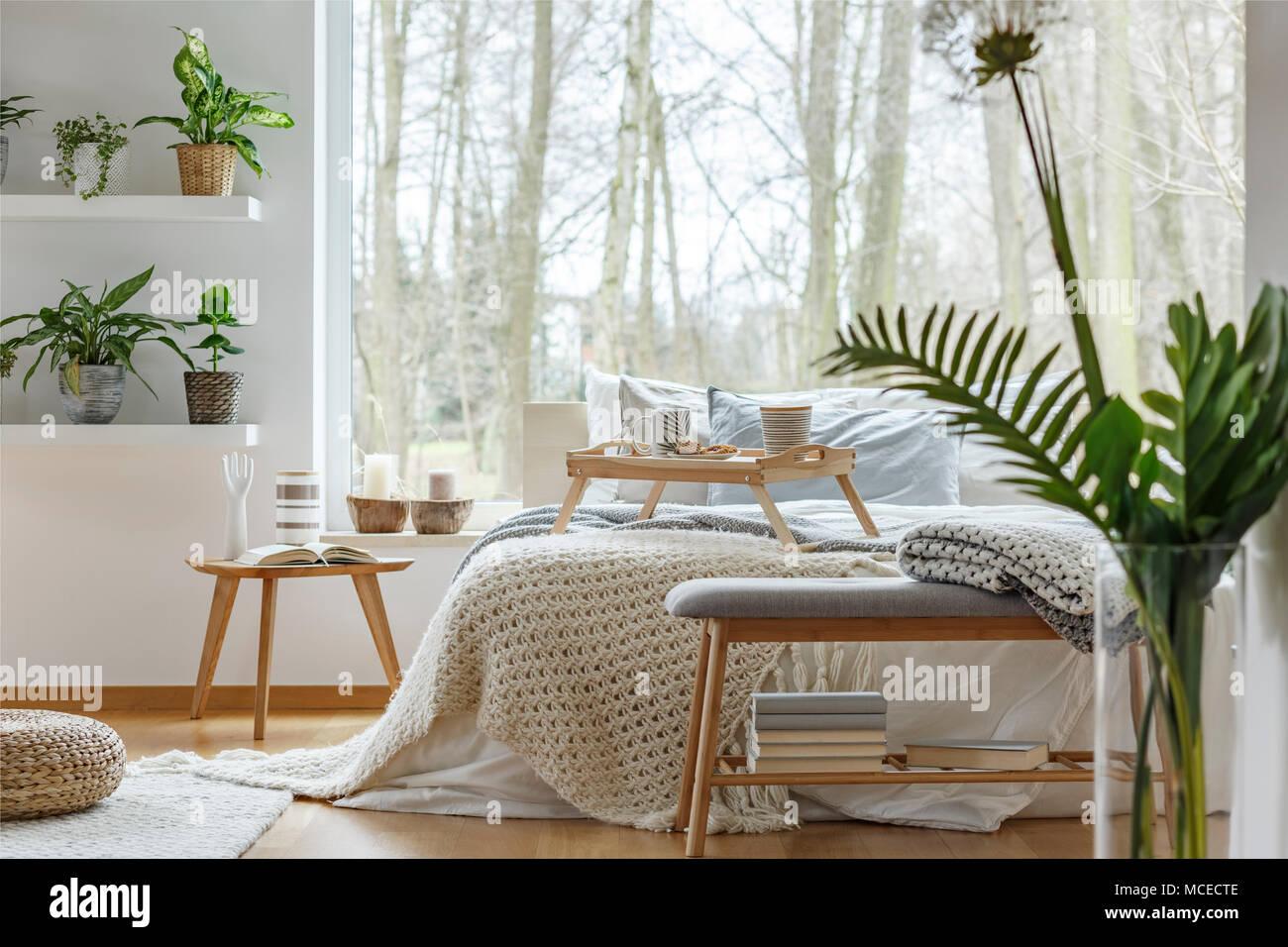 Pflanzen Auf Regal Und Buch Auf Holzernen Tisch Im Gemutlichen Schlafzimmer Mit Bett Gegen Das Fenster Stockfotografie Alamy