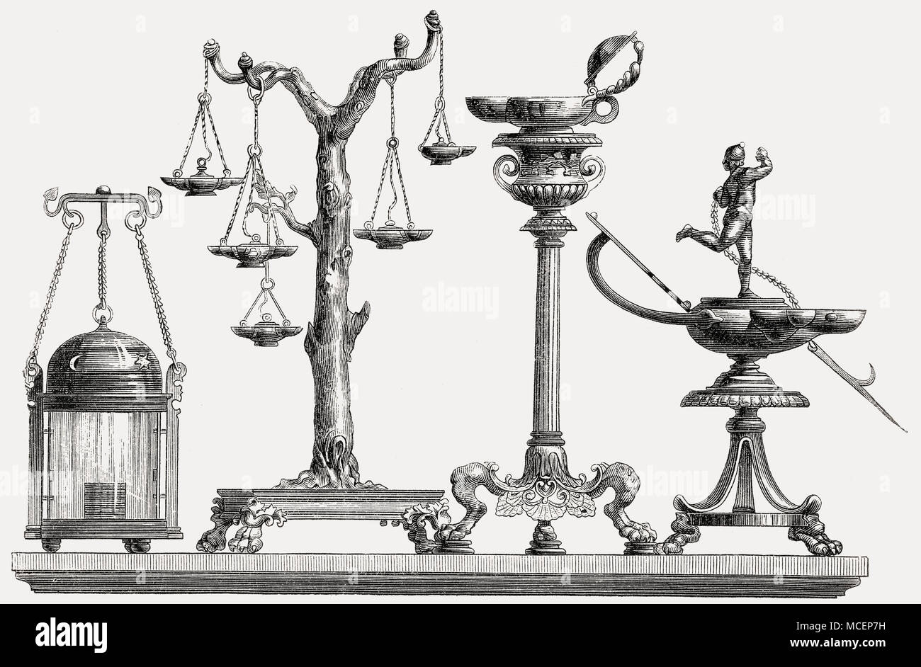 Instrumente für Heizung und Beleuchtung, das antike Rom Stockbild