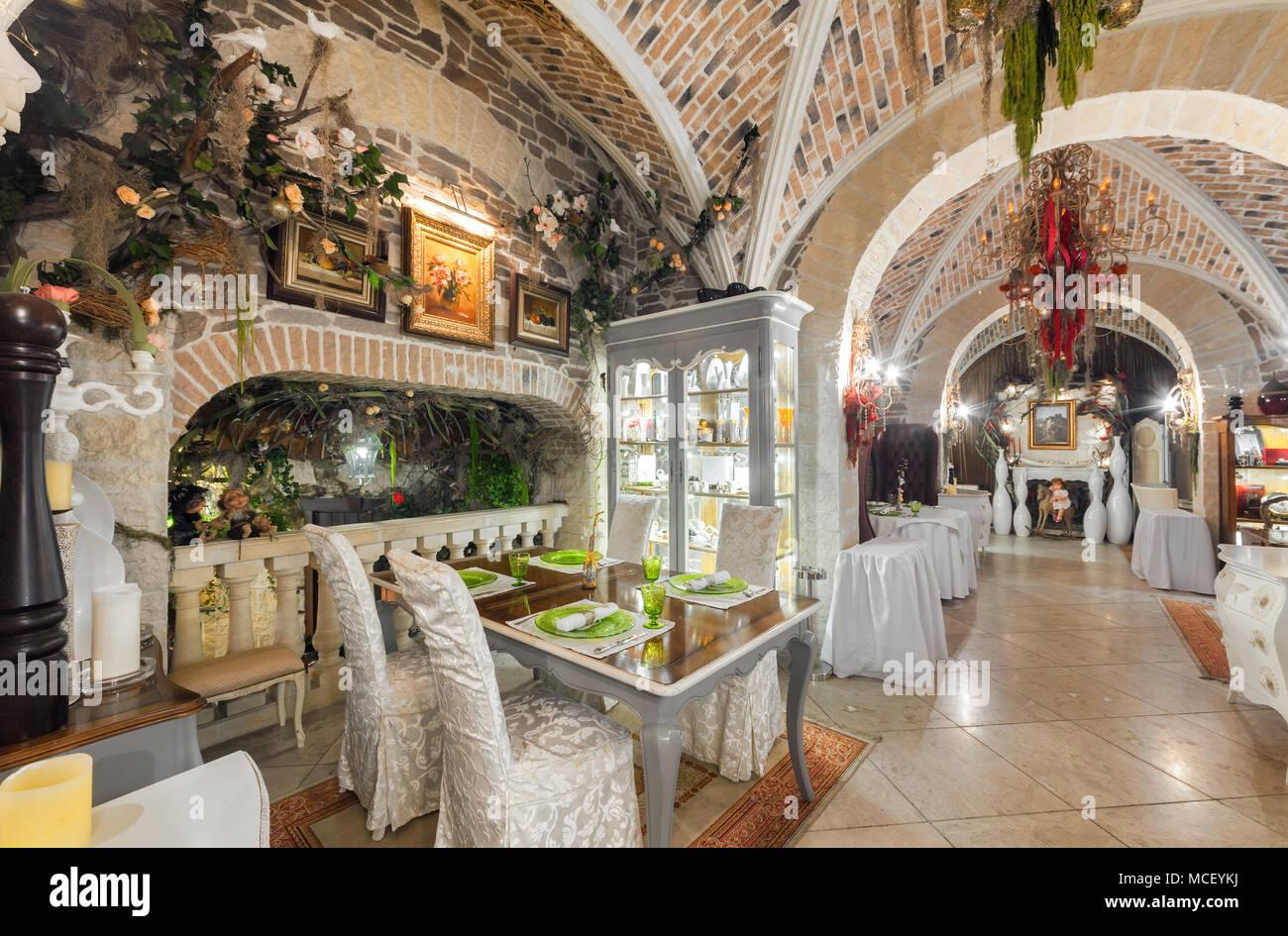 Moskau - AUGUST 2014: Vintage Interieur des Restaurants der ...