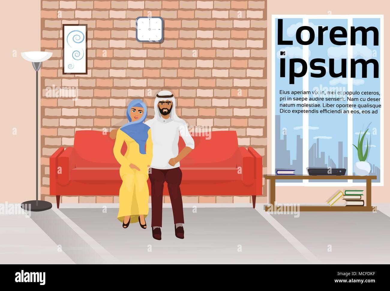 Moderne Loft Wohnzimmer Einrichtung Mit Arabischen Paar Auf Der