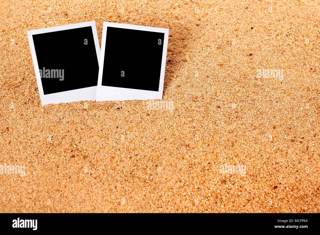 Sommerurlaub instant Kamera Bilderrahmen druckt auf einer Strand ...