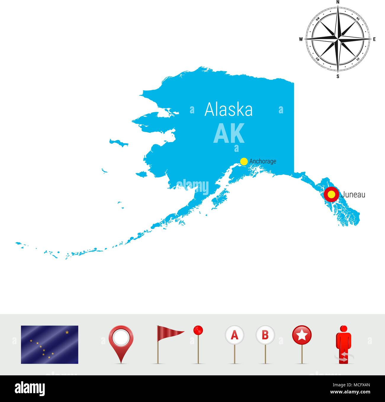 Map Alaska Flag Vector Illustration Stockfotos & Map Alaska ...
