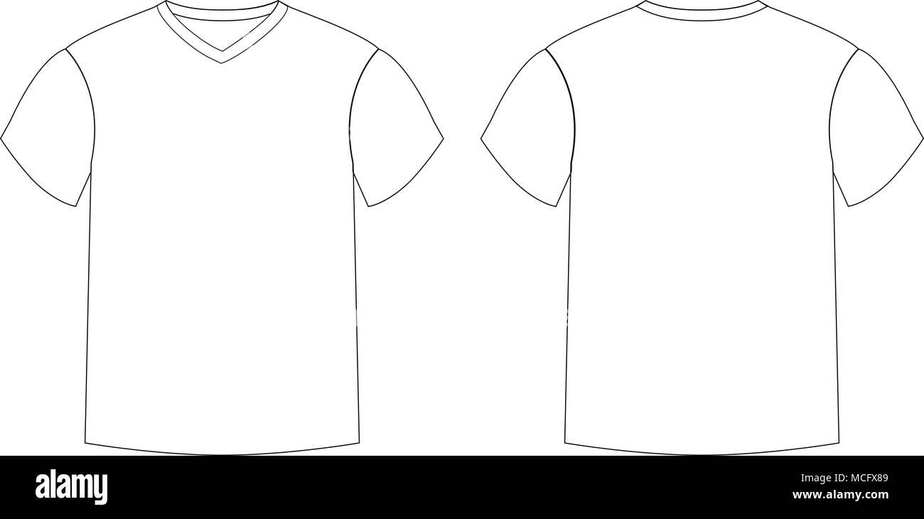 Umrisse countur Silhouette der Männer t-shirt Vorlage v-ausschnitt ...