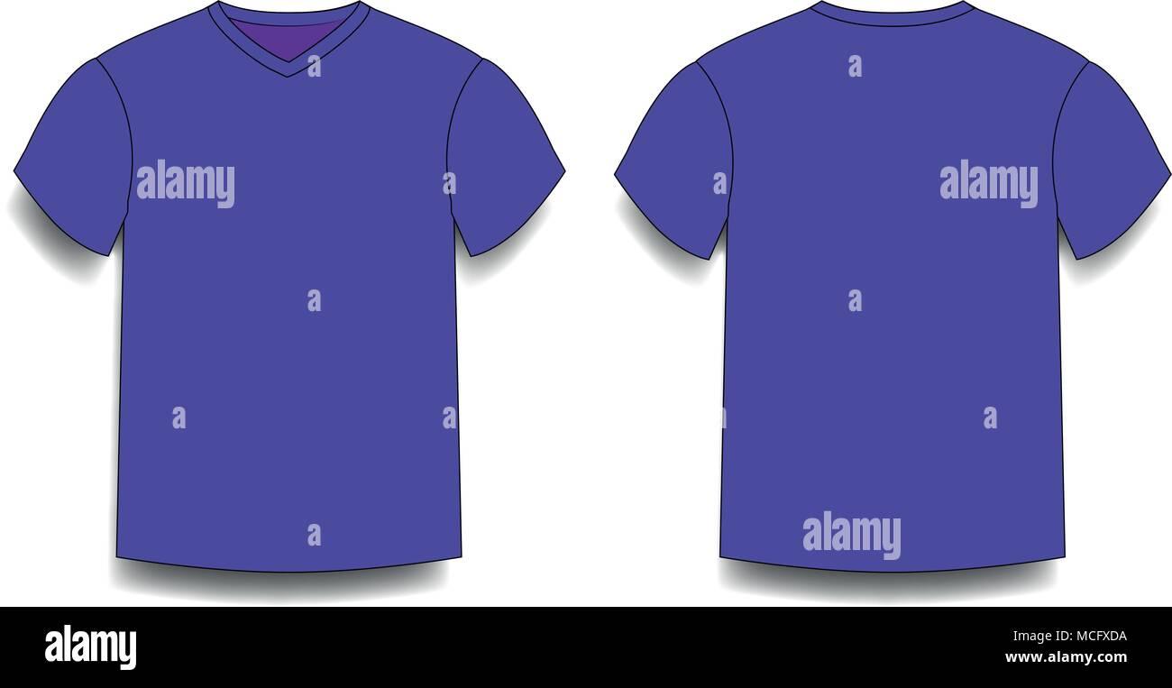 Die Violetten Männer t-shirt Vorlage v-ausschnitt vorne und hinten ...