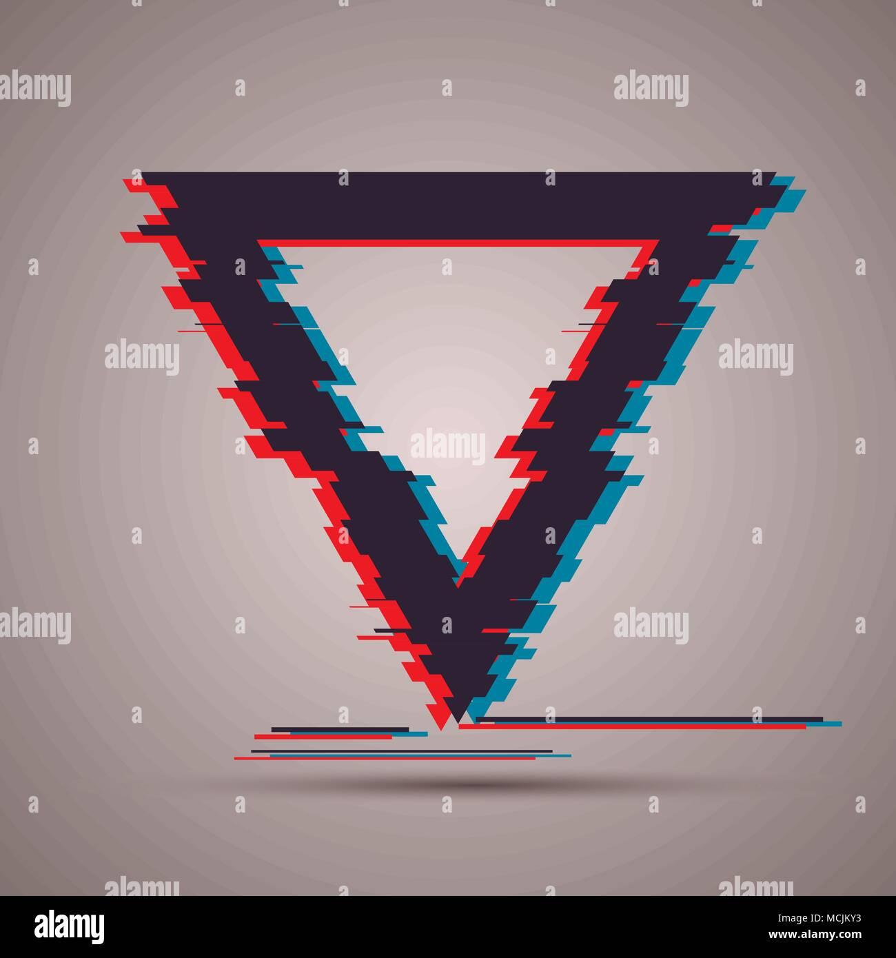 Dreieckform mit TV Panne Effekt für ihr Poster, Karten, Vorlagen ...